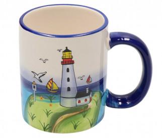 perfekt für die maritime Dekoration Becher mit Henkel Leuchtturmdesign