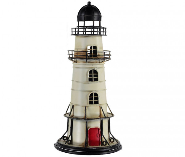 Tony Brown Leuchtturm 45 cm Schwarz/Creme/Rot